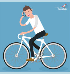 Flat design young women riding bicycle vector