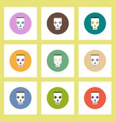 Flat icons halloween skull mask concept vector