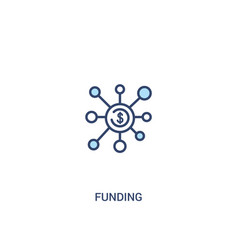 Funding concept 2 colored icon simple line vector