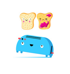 funny cartoon toast and toaster vector image