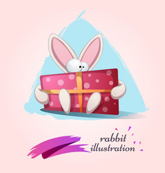funny cute rabbit with gift vector image