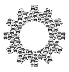 gear mosaic of car icons vector image