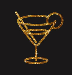 Golden glitter glass of martini cocktail drink vector