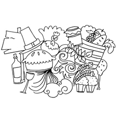 Hand draw thanksgiving doodle art vector