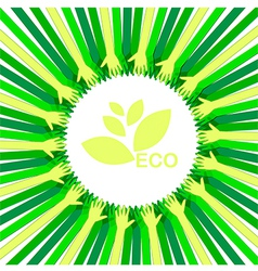 Hands take care eco vector