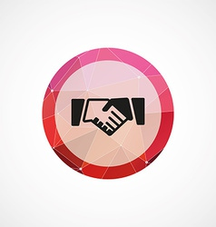 Handshake circle pink triangle background icon vector