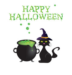 happy halloween card with cauldron and cat vector image