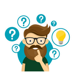 hipster businessman having creative idea vector image