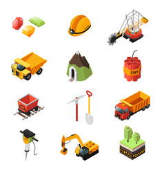isometric mining industry elements set vector image