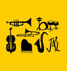 jazz music instrument hand drawn doodle set vector image