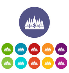 King crown icons set flat vector
