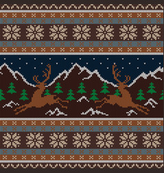 Knitted wool tapestry with deers and mountains vector