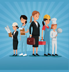 labor day group women workers profession various vector image