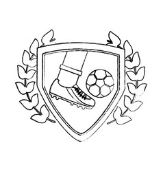 leg foot kicking soccer ball inside shield emblem vector image