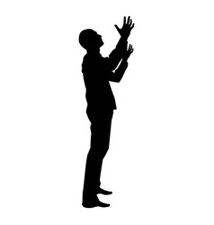 man is turning to heaven man up arm appeal to god vector image