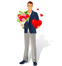 man with bouquet heart vector image