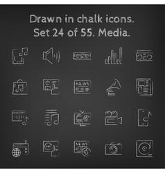 Media icon set drawn in chalk vector