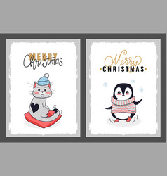 merry christmas greeting cards penguin and cat vector image