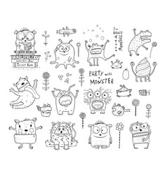 monsters for kids coloring book collection vector image