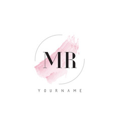 Mr m r watercolor letter logo design with vector
