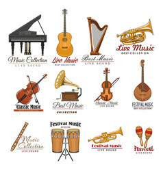 Musical instrument symbol set for music design vector