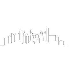 new york city skyline single line vector image