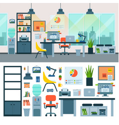 office work place with computer and workers vector image
