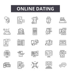 Online dating line icons signs set vector
