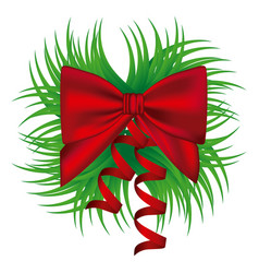 Ornament decorative pine arch with silk shiny red vector
