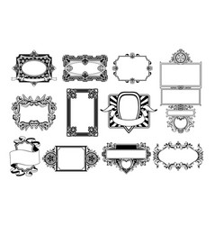Ornate frame and border design elements vector