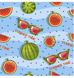 Pattern of watermelon slices and glasses vector