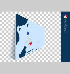Philippines map and flag on transparent background vector