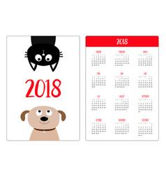 Pocket calendar 2018 year week starts sunday dog vector