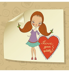 Pretty young girl in love vector