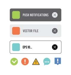 Push notifications elements icons set vector image