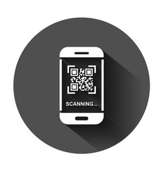 qr code scan phone icon in flat style scanner in vector image