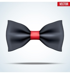 Realistic black and red bow tie vector