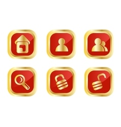 Red and gold icon set vector