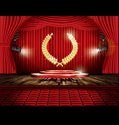 Red stage curtain with spotlights seats and vector
