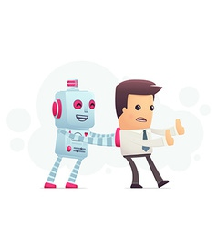 Robot controls man vector