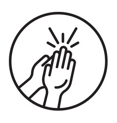 Rounded clapping hands line art icon for apps vector