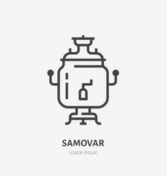 samovar flat line icon thin sign of vector image