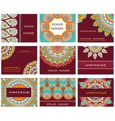 Set invitations business cards decorative flowers vector