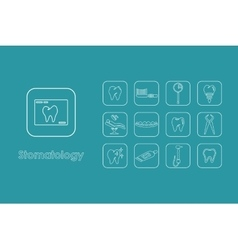 Set of stomatology simple icons vector image