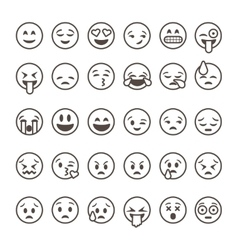 set outline emoticons emoji isolated vector image