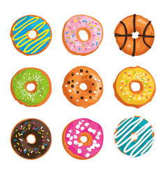 Set with bright glazed sweet donuts vector