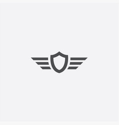 Shield wings outline icon vector