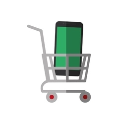 shopping cart online mobile phone display color vector image