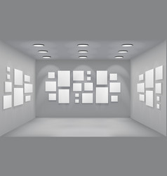 Showroom art gallery empty museum room interior vector