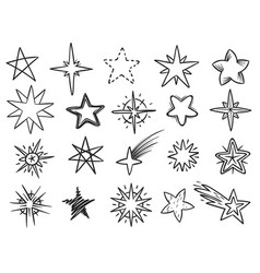 sketch stars grunge star shapes black hand drawn vector image